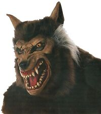 Halloween WEREWOLF WITH HAIR ADULT LATEX DELUXE MASK COSTUME NEW