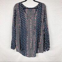 Torrid Women Top Sz 2X Black Floral Button Down Rayon Plus Size Boho Peasant