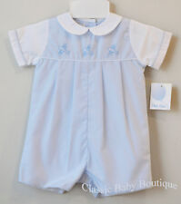 d6153110d30 NWT Petit Ami Boys Blue Airplane Pleated Romper Bubble Preemie Classic Baby