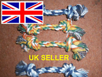 4 X Chew Toy with Knot Fun Tough Strong Puppy Dog Pet Tug War Play Cotton Rope