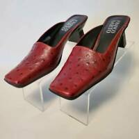 Franco Sarto Womens Size 9.5 Mules Shoes Red Brown Full Quill Ostrich Leather