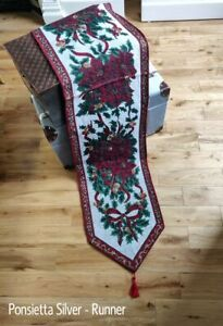 """Christmas Holly Poinsettia Silver Tapestry Table Runner 13"""" x 72"""" (30 x 183cm)"""