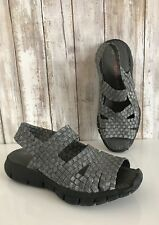 BM Bernie Mev Gray Pewter Open Toe Stretch Sling Back Platform Sandals 36 6 *