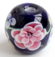 10pcs handmade Lampwork glass round Beads flower 14mm