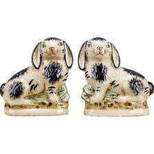 Staffordshire Reproduction Pair of Black Rabbits/Bunnies/Bunnys, Set of 2