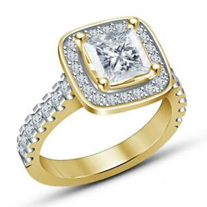 Fashion Princess Square White Zircon Gold Wedding Ring Jewelry Gift Size 9