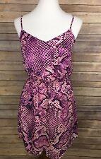 Eight Sixty Size Medium Purple Animal Print Dress Sundress Cinched Waist NWOT