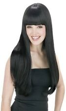 Womens Long Black Wig Straight Sexy Dark Hair Bangs 60s Costume GoGo Adult NEW