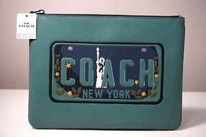 Coach License Plate Leather Slate Blue Large Pouch F26090
