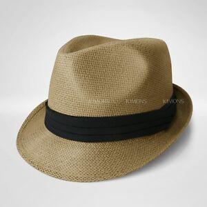 Straw Fedora Hat Trilby Cuban Cap Summer Beach Sun Panama Short Brim Floral