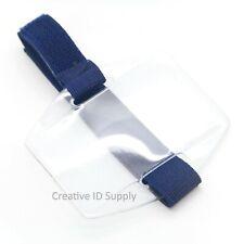 Arm Band Photo ID Badge Holder Vertical w/ Elastic Blue Strap - Pack of 50 pcs