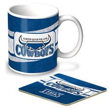 124043 NTH QUEENSLAND COWBOYS NRL TEAM HERITAGE COFFEE MUG & COASTER GIFT PACK