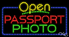 "New ""Open Passport Photo"" 32x17 Solid/Animated Led Sign W/Custom Options 25546"