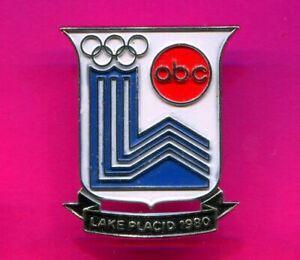1980 OLYMPIC PIN LAKE PLACID WINTER GAMES ABC SPORTS SILVER BACK PIN