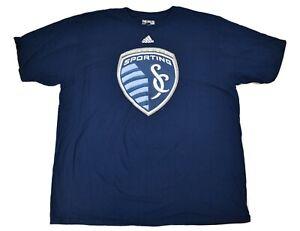adidas Mens MLS Sporting KC Kansas City The Go To Tee Shirt NWT XL, 2XL