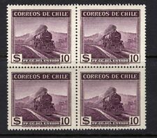 CHILE 1938-56 Views & Sights 10 pesos block of 4 MNH wmk.4 Train Locomotive