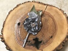 Fabric Boutonniere Flowers Groomsmen Best Man Prom Formal Silver Gray Gift