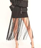 Womens Black Fringe Tassel Short Mini Skirt Charleston Gatsby NEW Sizes  8 10 12