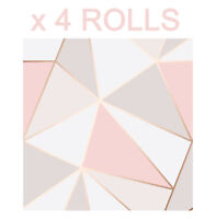 Rose Gold Triangle Wallpaper 3D Apex Geometric Modern Metallic Fine Decor x 4