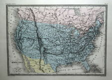UNITED STATES OF AMERICA Original Hand Col Antique Malte Brun Vintage Map c 1850
