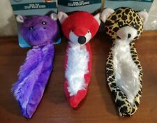 "3 Flat Dog Toys Lot 8"" Squeakers Plush Stuffed Animals Crinkly Squeaky Puppy New"