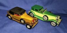 (2) LESLEY ANTIQUE CARS Made in England Duesenberg & Packard Victoria 1:43