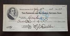 USA America 🇬🇷 Farmers and mechanics bank check 🇬🇷 $2 Dollars