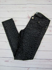 TRIPP NYC Grunge Punk Black Oil Slick Leopard Animal Skinny Stretch Jeans Sz 9