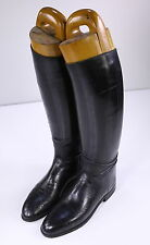 * JOHN LOBB * Bespoke London Black Leather Riding Tall Boots +Trees UK 8- US 8.5