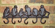 Monkey Hook Wall Rack Key Cast Iron Metal Hallway Tidy Kitchen Shabby Ape New