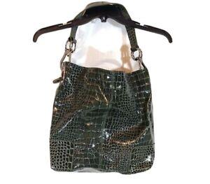 Faux Crocodile Croc Gator Shoulder Handbag Purse 12 inch x 15 inch Green Glossy