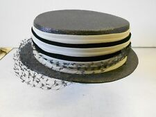"Vtg '50's-'60's Ladies Hat. Hazel. Black & Tanish Beige. Lace. 1"" Brim. Nice!"