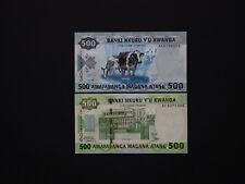 RWANDA Banknotes Classic Set of Two - 500 Francs  2008  &  2013  notes  Mint UNC