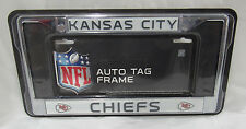 NFL Kansas City Chiefs Chrome License Plate Frame Thin Black Letters
