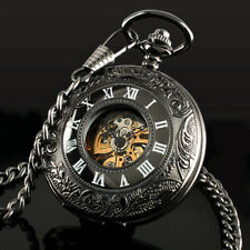 Gold Skeleton Chain Hand-winding Luxury Mens Pocket Watch Mechanical White Dial