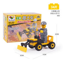 34pieces of small building blocks engineering bulldozers contain 1 Little people
