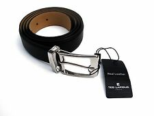 Ted Lapidus Paris Cow Deer Milled Leather Belt Black Classic