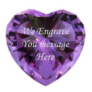 Personalized Gifts Custom gift 3inch Heart Diamond Paperweights Purple