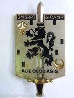 Insigne 34° GROUPEMENT  DE CAMP ARMEE FRANCAISE  ORIGINAL 2