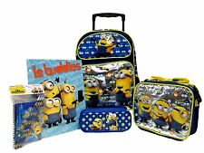 DESPICABLE ME 2 MINION ROLLING BACKPACK,LUNCHBOX,PENCIL CASE,STATIONARY SET-NEW!