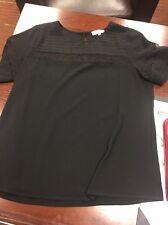 Crescent Black Dress Blouse Large Black Lace