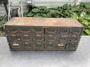 Vtg Equipto metal 18 drawer cabinet hardware industrial parts tools Farm Steel