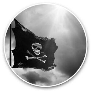 2 x Vinyl Stickers 15cm (bw) - Jolly Roger Pirate Flag  #41990