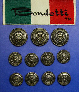 Set of 11 BENDETTI Crown Eagle Anchor buttons made by Waterbury, Good used Cond.