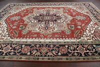 Thick Plush Heriz Geometric Oriental Area Rug Wool Hand-Knotted Dining Room 9x12