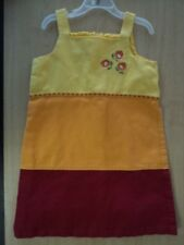 Girls Size 7 Copper Key Summer Dress Orange Yellow Red Lined - Cute!