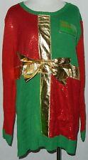 Joyland Women's Christmas Gift Sweater Sz M Green, Red + Gold Bow + Xmas Tag #