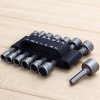 Power Nut Driver Drill Bit Standard Metric Socket Wrench Screw 1/4 Hex Shank
