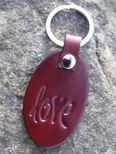 Leather key ring with Love design and nickle hardware chestnut brown leather