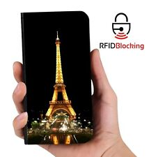RFID Protected Eiffel Tower PU Leather Wallet Custom Case Cover for Apple iPhone